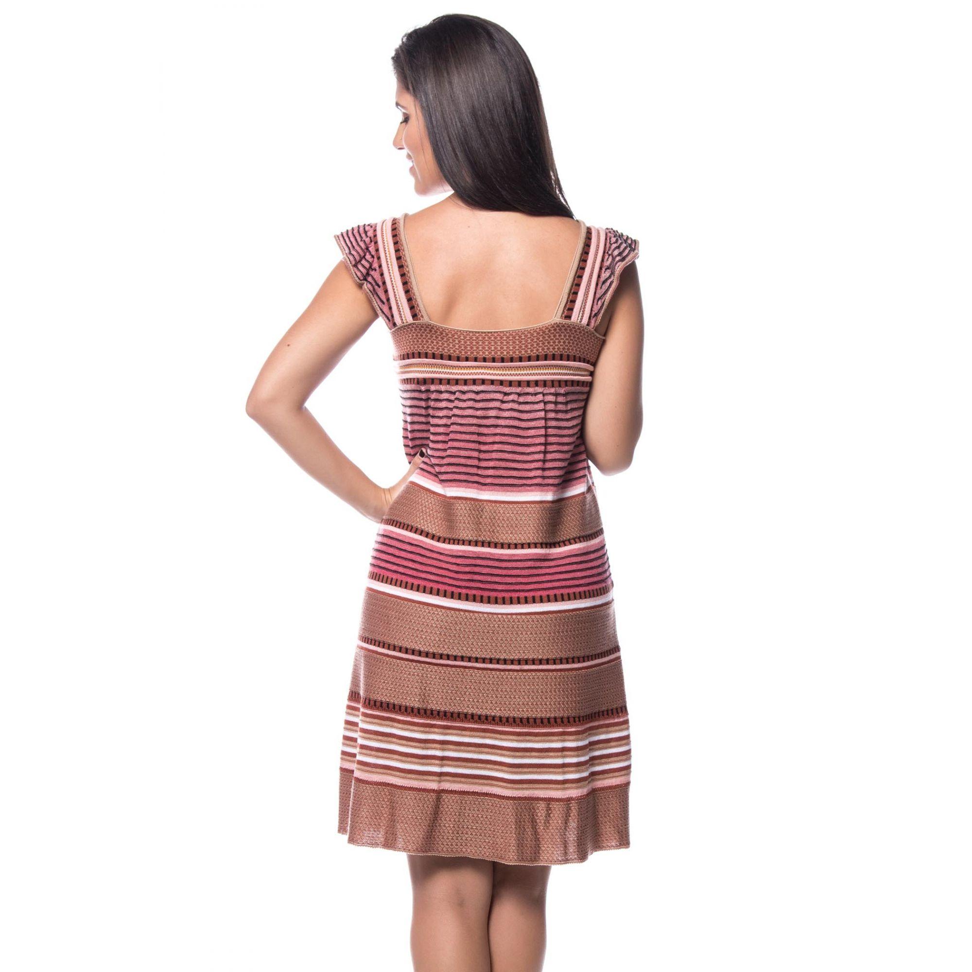 Vestido Curto Evasê Vera Tricot Listrado Feminino Rosé