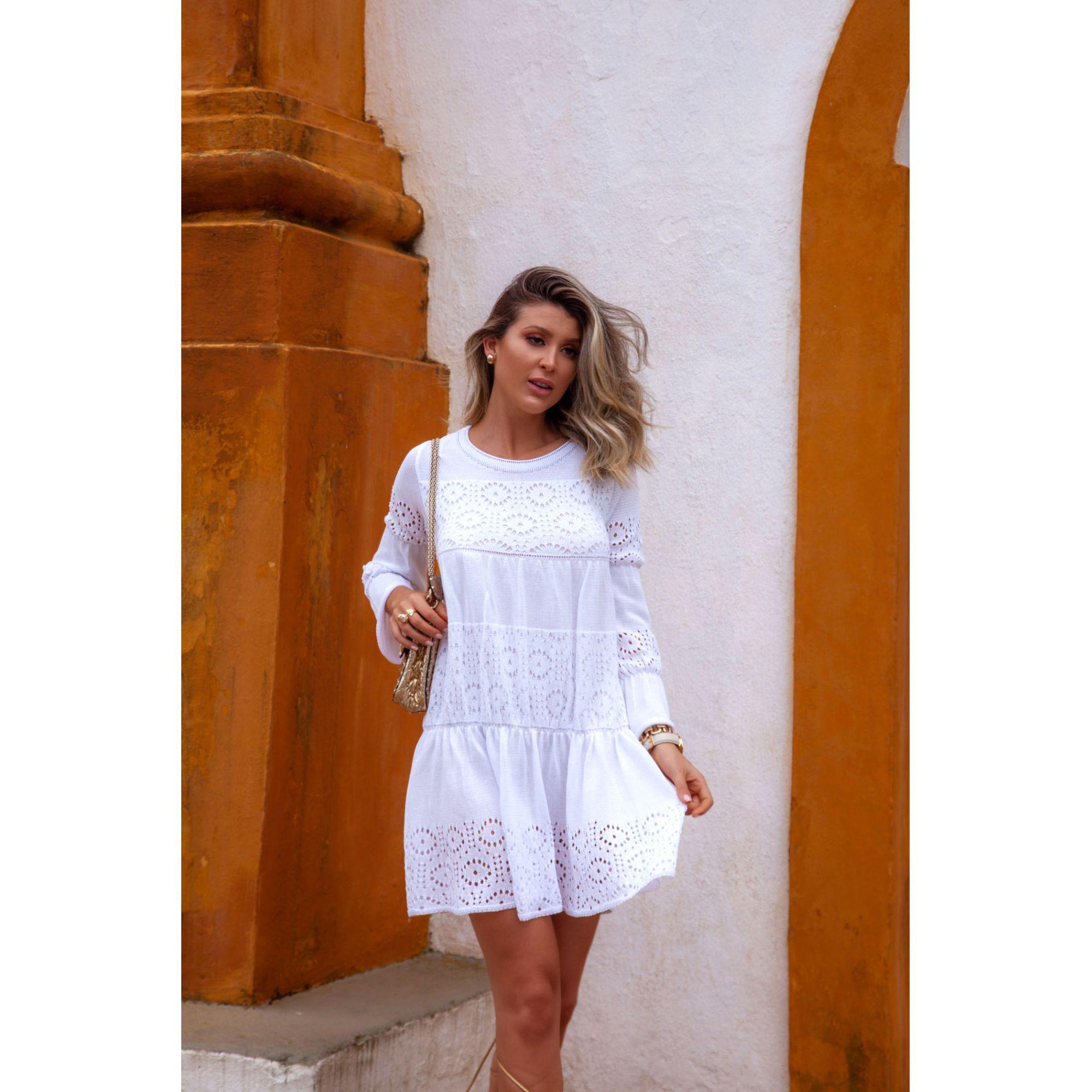 Vestido Curto Manga Longa Flare Vera Tricot Feminino Branco