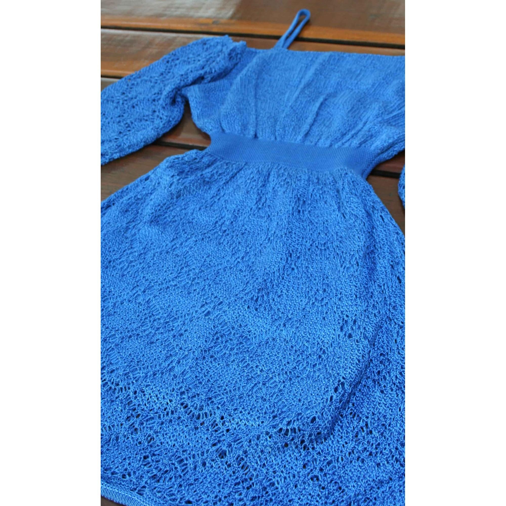 Vestido Angélica Curto Vera Tricot Rendado Ombro a Ombro Com Alças Azul