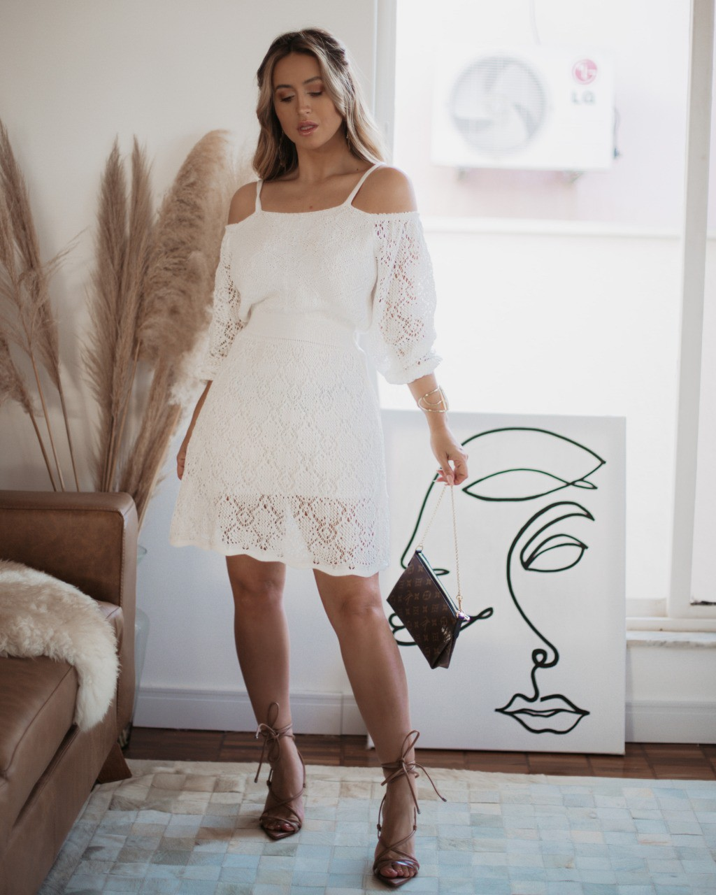 Vestido Angélica Curto Vera Tricot Rendado Ombro a Ombro Com Alças Branco