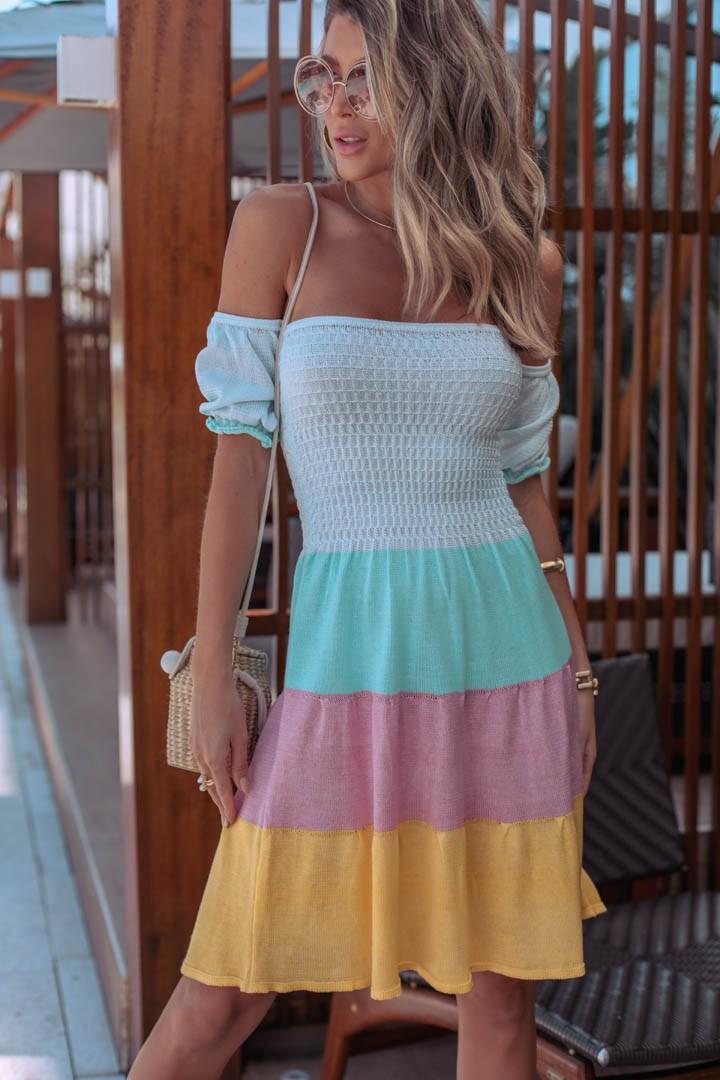 Vestido Gardênia Feminino Vera Tricot  Com Pregas Amarelo / Rosa / Verde / Azul