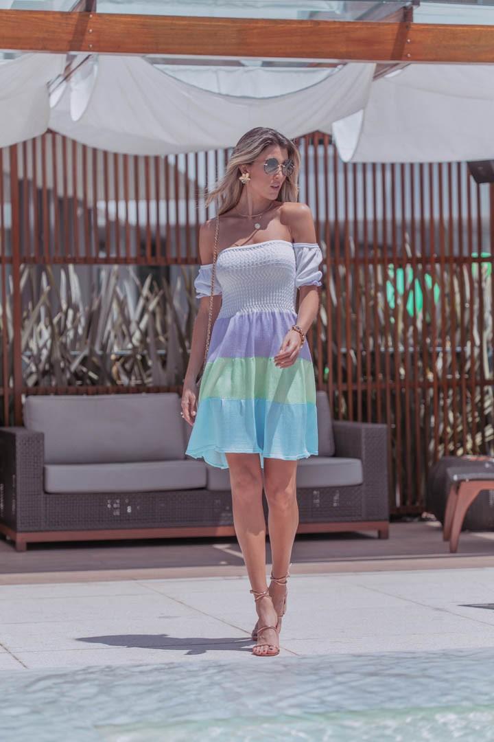 Vestido Gardênia Feminino Vera Tricot  Com Pregas Azul / Verde / Roxo / Branco