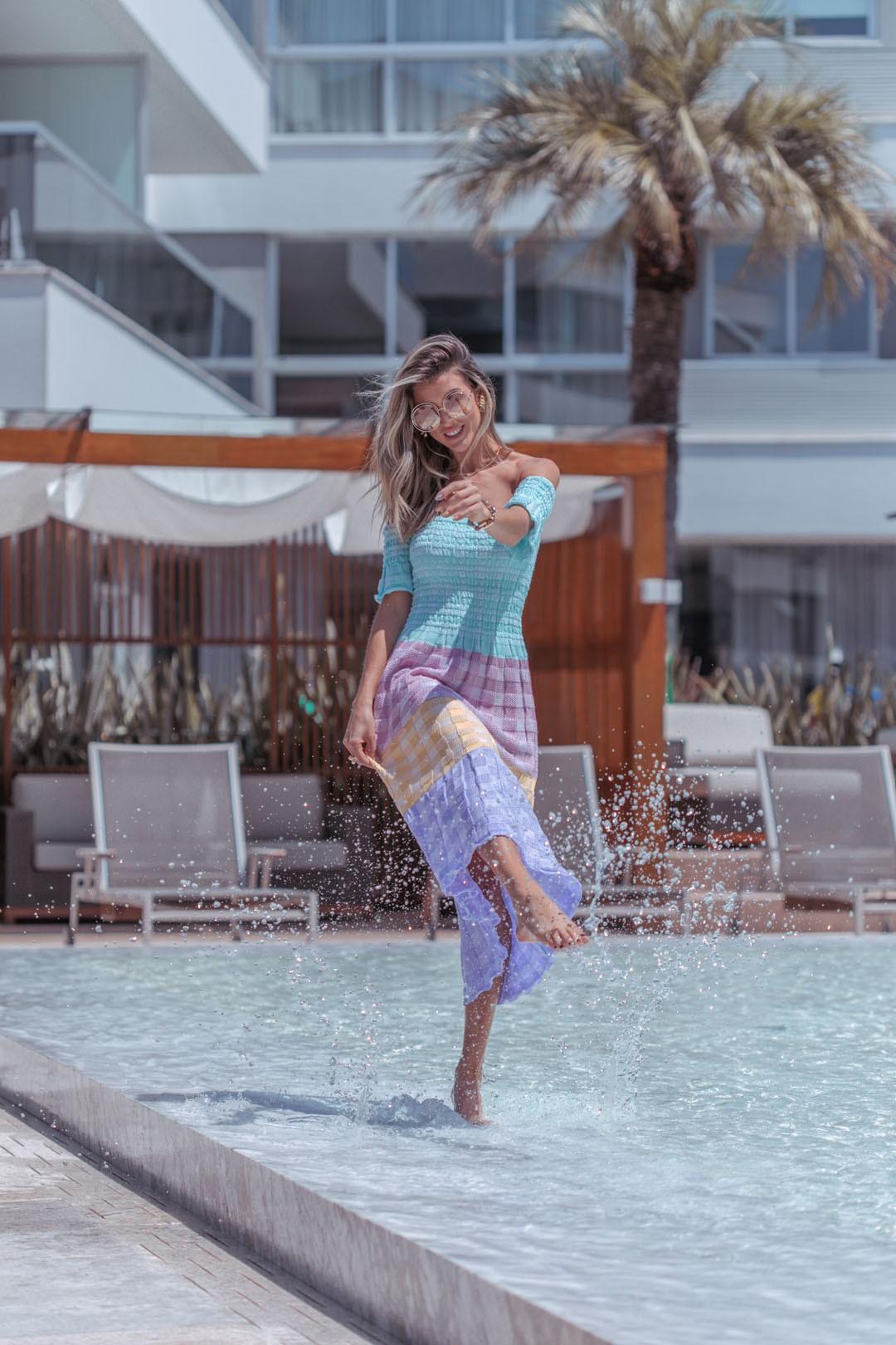Vestido Jasmim Vera Tricot Feminino Midi Quadriculado Candy Colors Lilás / Amarelo / Rosa / Verde água