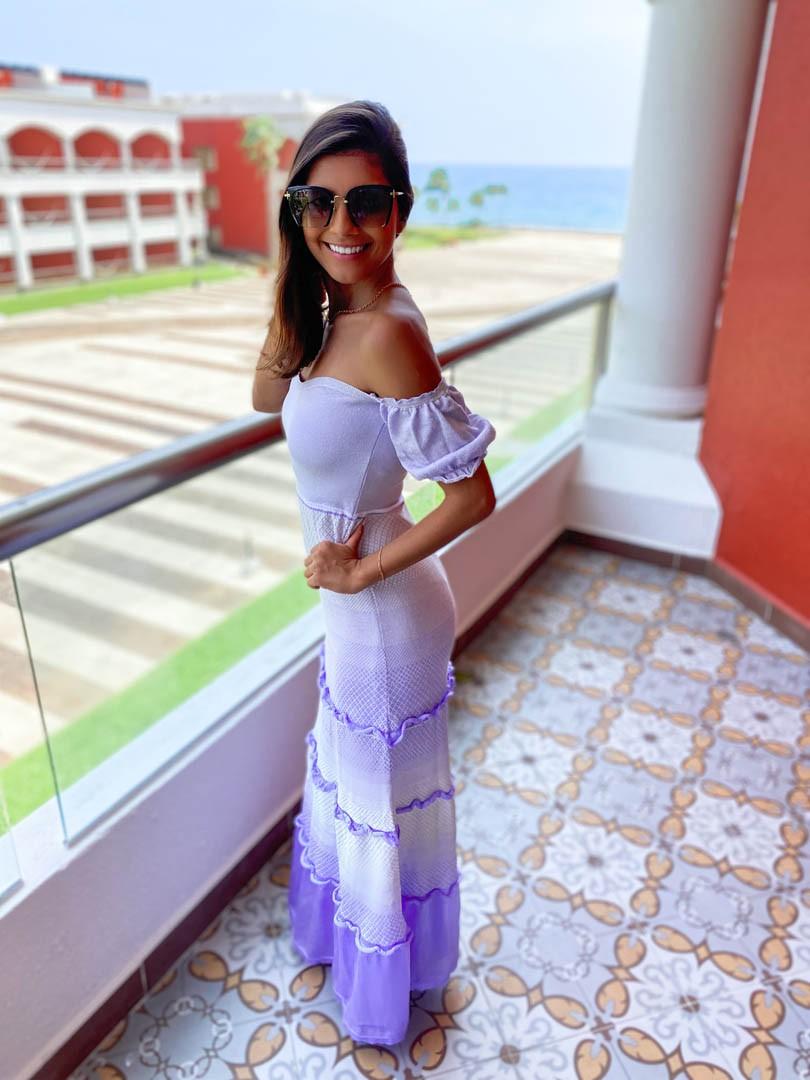 Vestido Lis Feminino Vera Tricot Longo Princesa Lilás / Branco