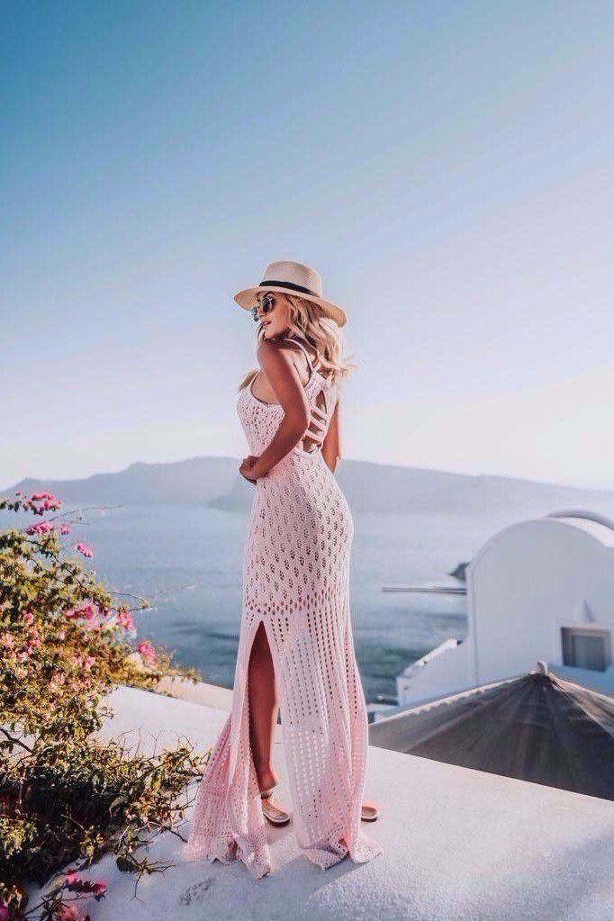 Vestido Longo Vera Tricot Decote Costas Feminino Bege