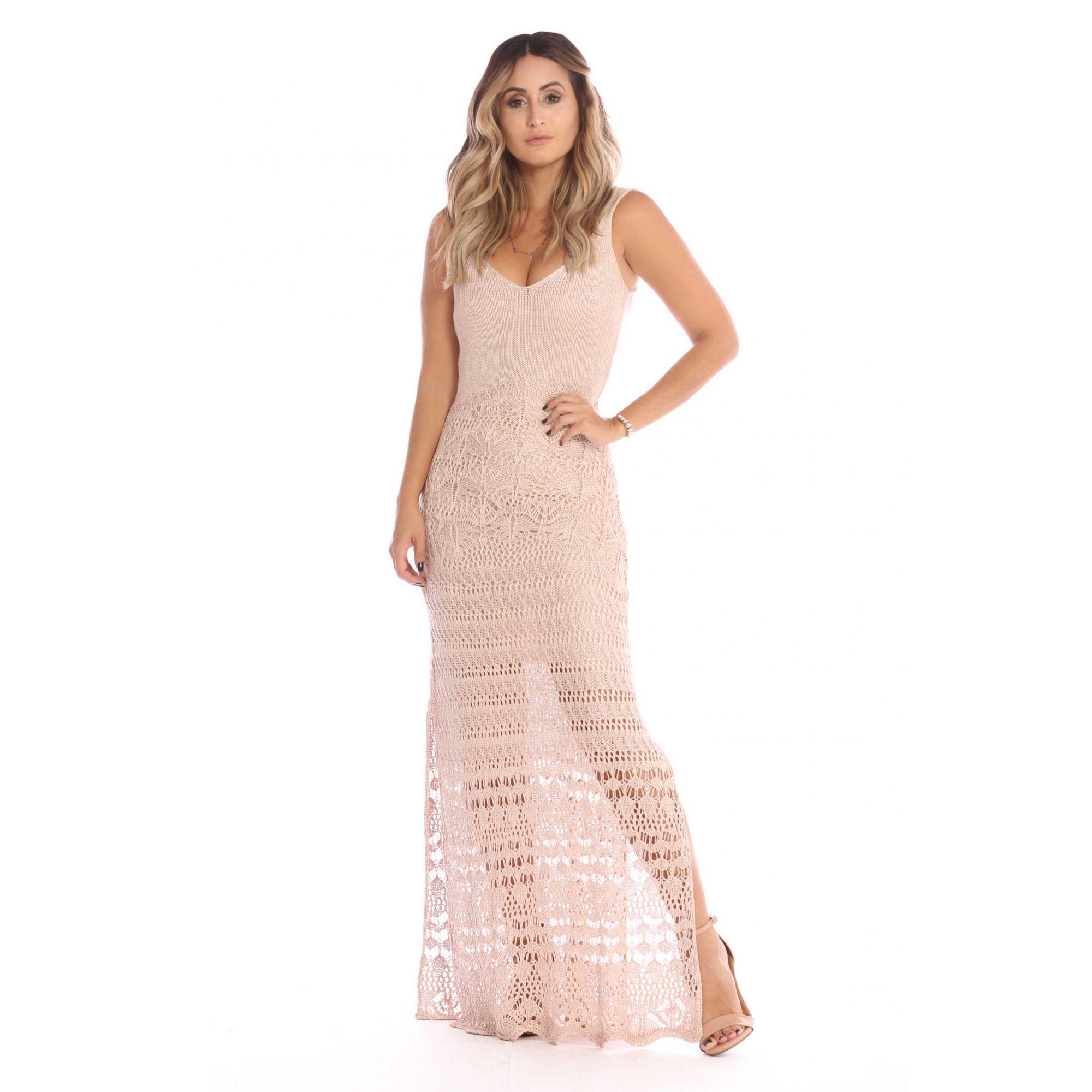 Tricô Vestido Longo Vera Tricot Decote V Rendado Feminino