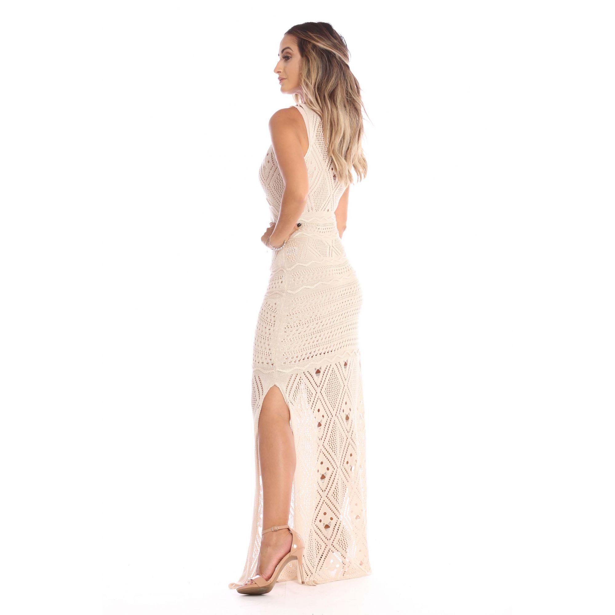 Vestido Longo Vera Tricot Rendado Fendas Feminino