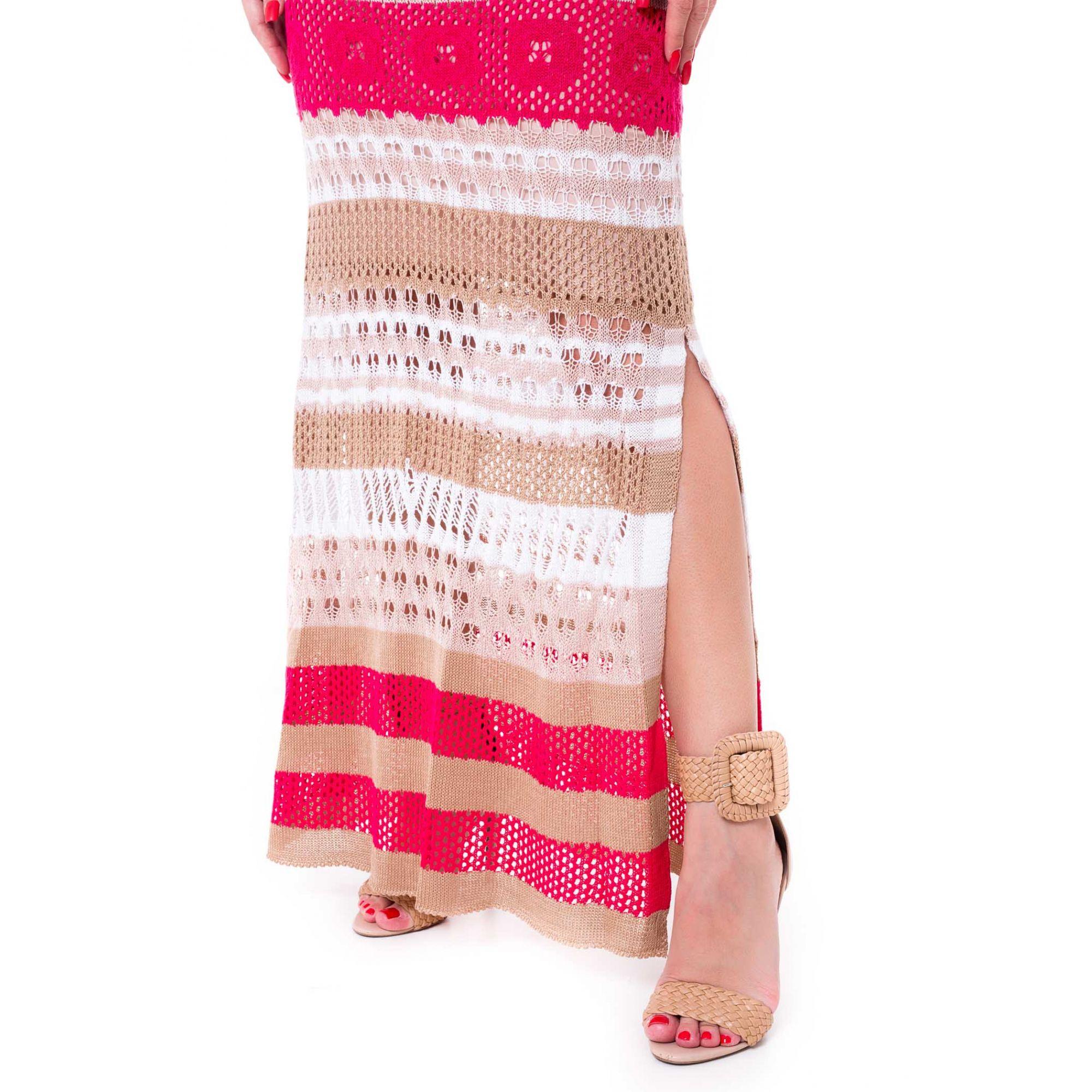 Vestido Longo Vera Tricot Alças Listrado Feminino Bege / Pink / Bege Claro