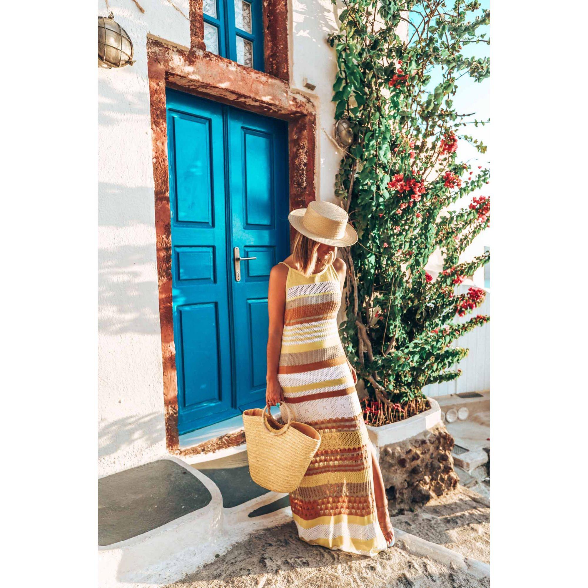 Vestido Longo Vera Tricot Alças Listrado Feminino Amarelo