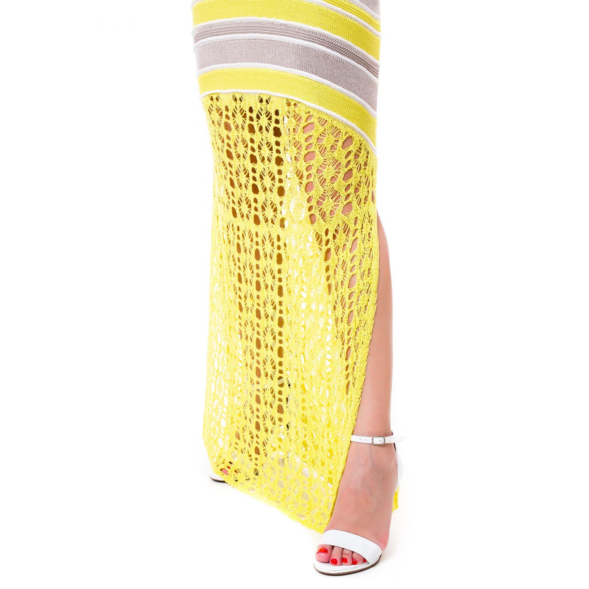 Vestido Longo Vera Tricot Decote V Listras Feminino Amarelo / Cinza / Off White
