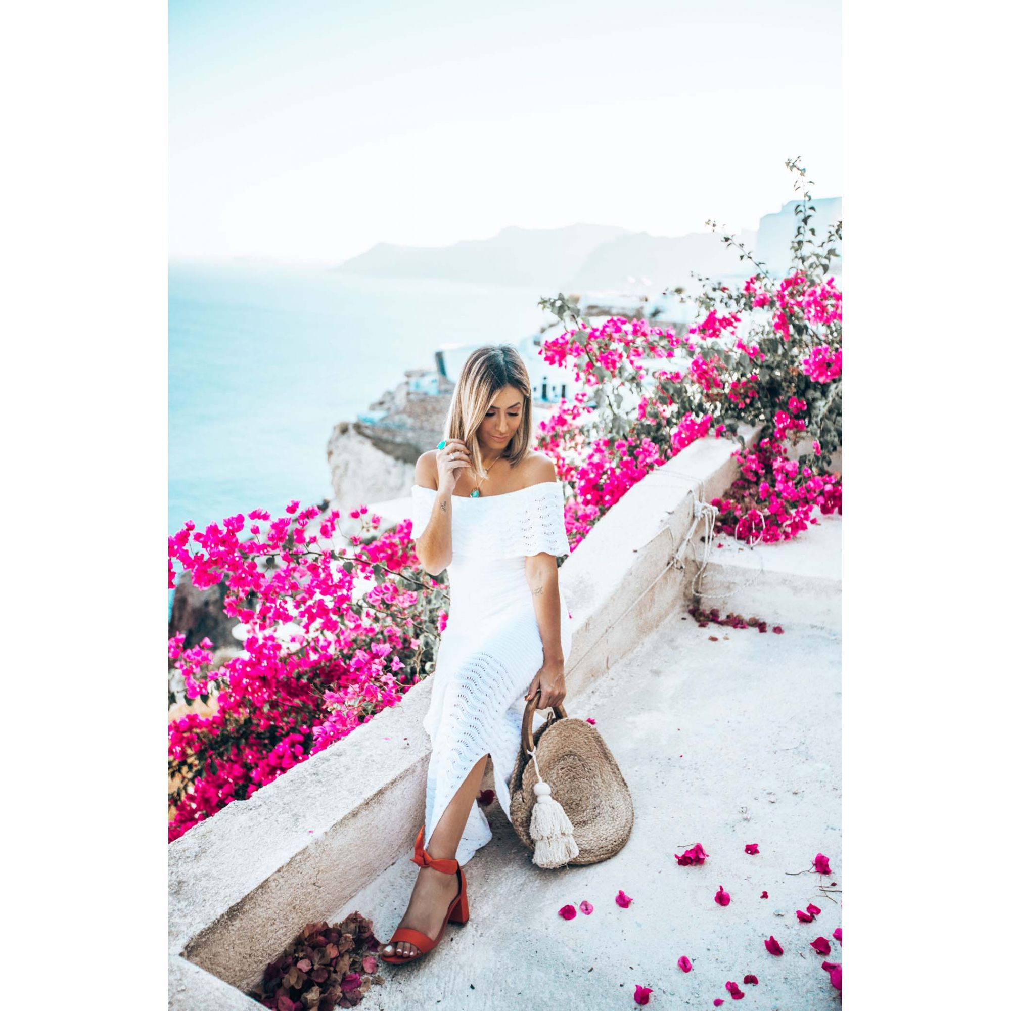 Vestido Longo Vera Tricot Ombro a Ombro Feminino Branco