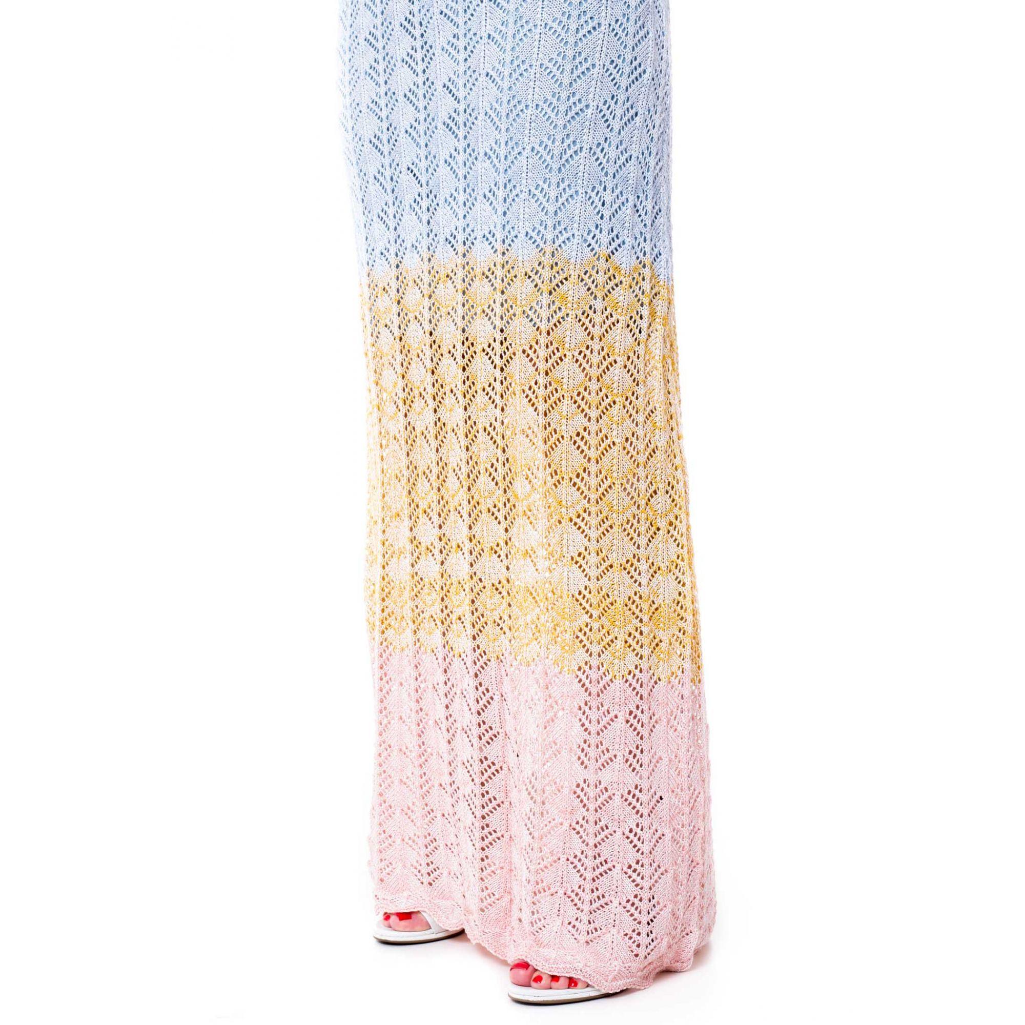 Vestido Longo Vera Tricot Ombro a Ombro Tie Dye Feminino Rosa / Amarelo / Azul