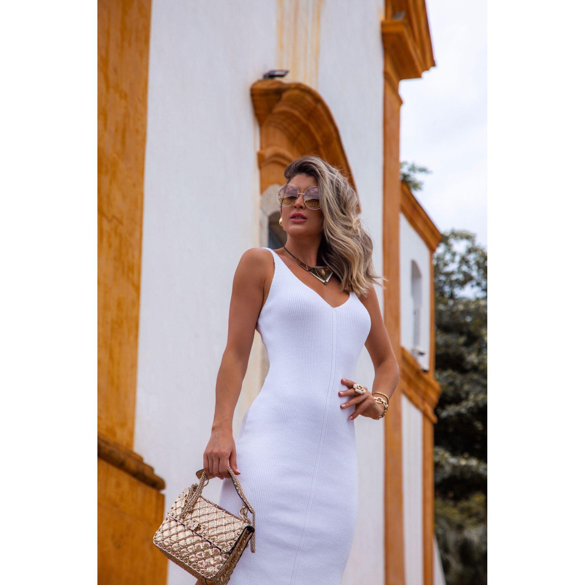 Vestido Midi Decote V Fenda Vera Tricot Feminino Branco