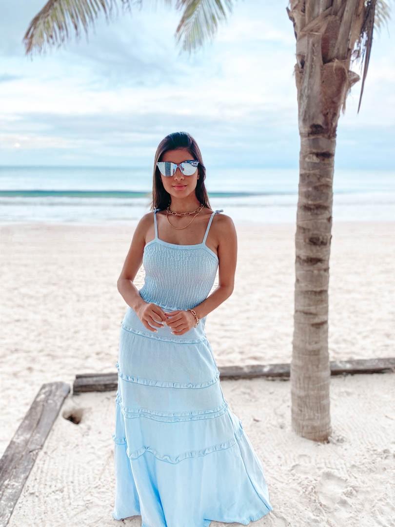 Vestido Orquídea Feminino Vera Tricot Longo Rodado Com Babados Azul