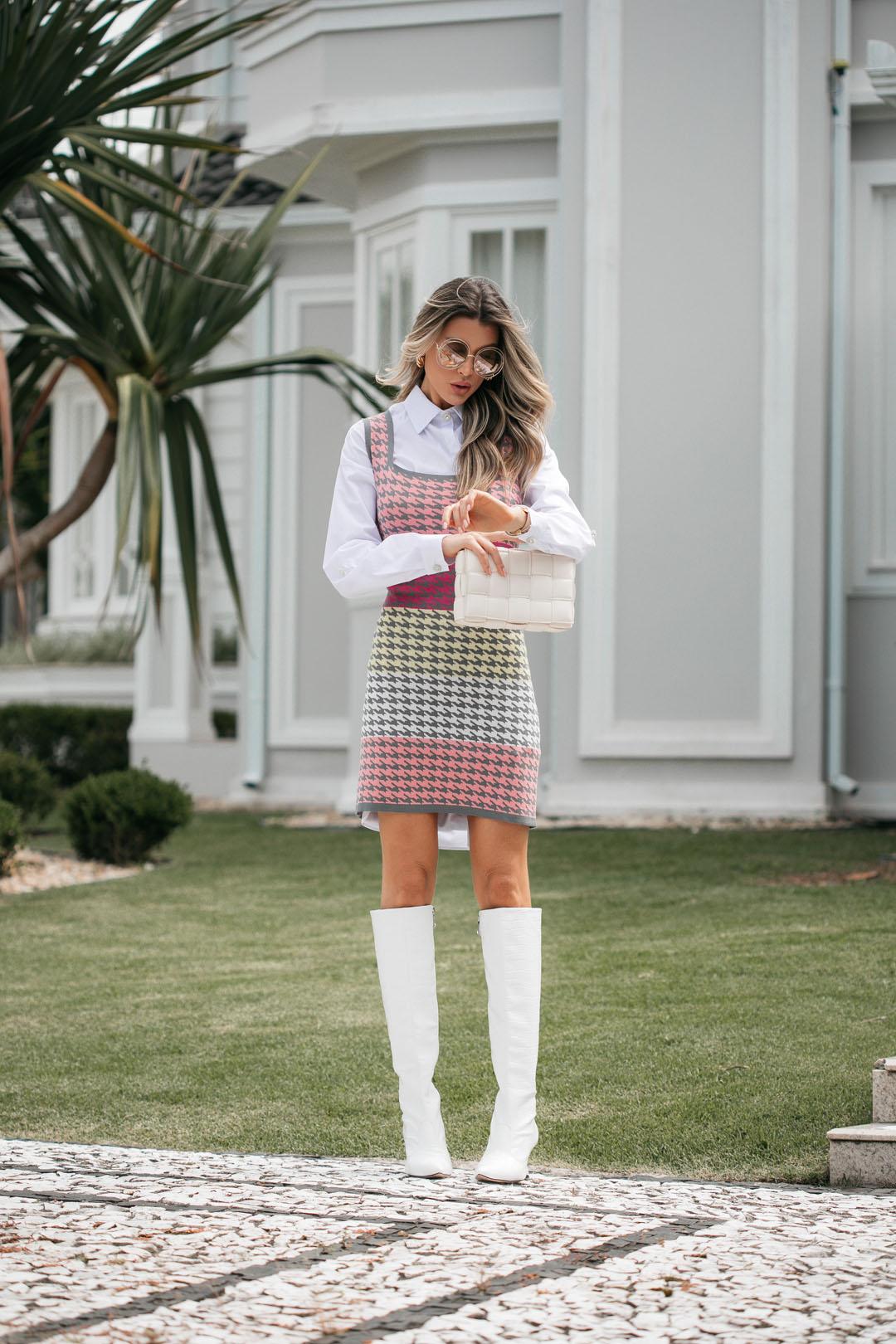 Vestido Penélope  Feminino Vera Tricot Pied Poule Cinza / Rosa / Amarelo / Pink