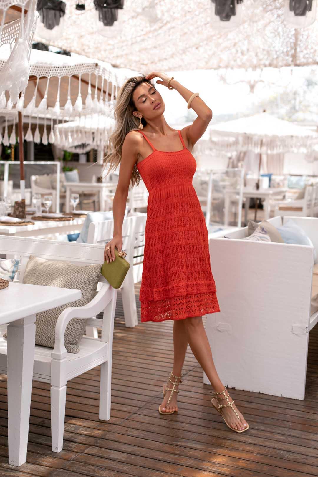 Vestido Rebeca Curto Alcinha Vera Tricot - Laranja