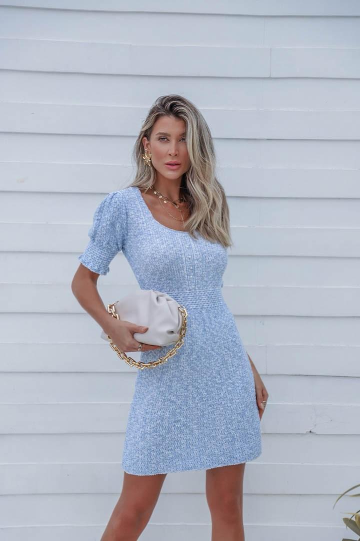 Vestido Suzi Feminino Vera Tricot Curto Com Perolas Azul / Branco