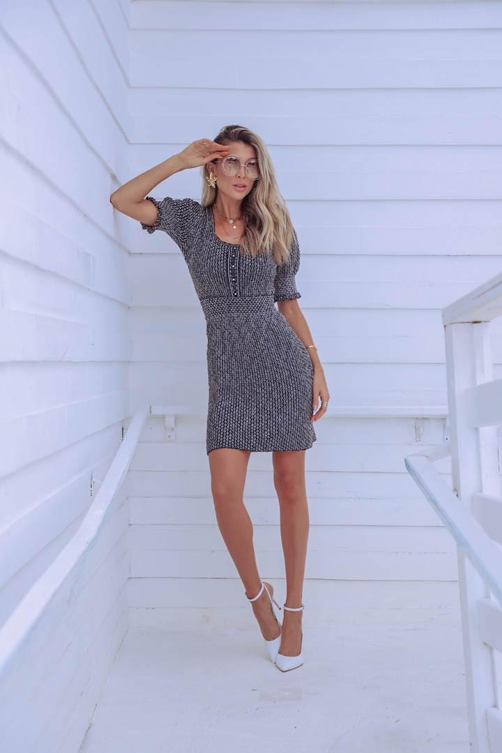 Vestido Suzi Feminino Vera Tricot Curto Com Perolas Preto / Cinza