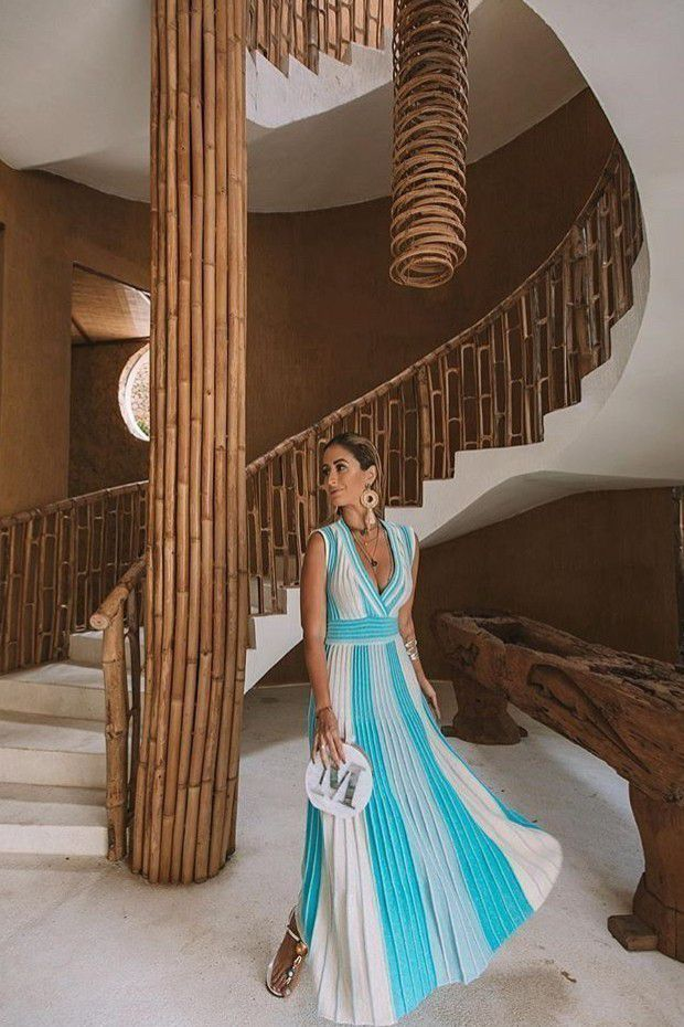 Vestido Vera Tricot Midi Listrado Feminino