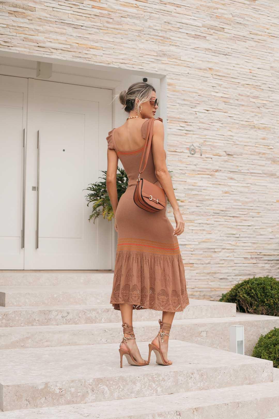 Vestido Tricot Modal Franciele - Marrom