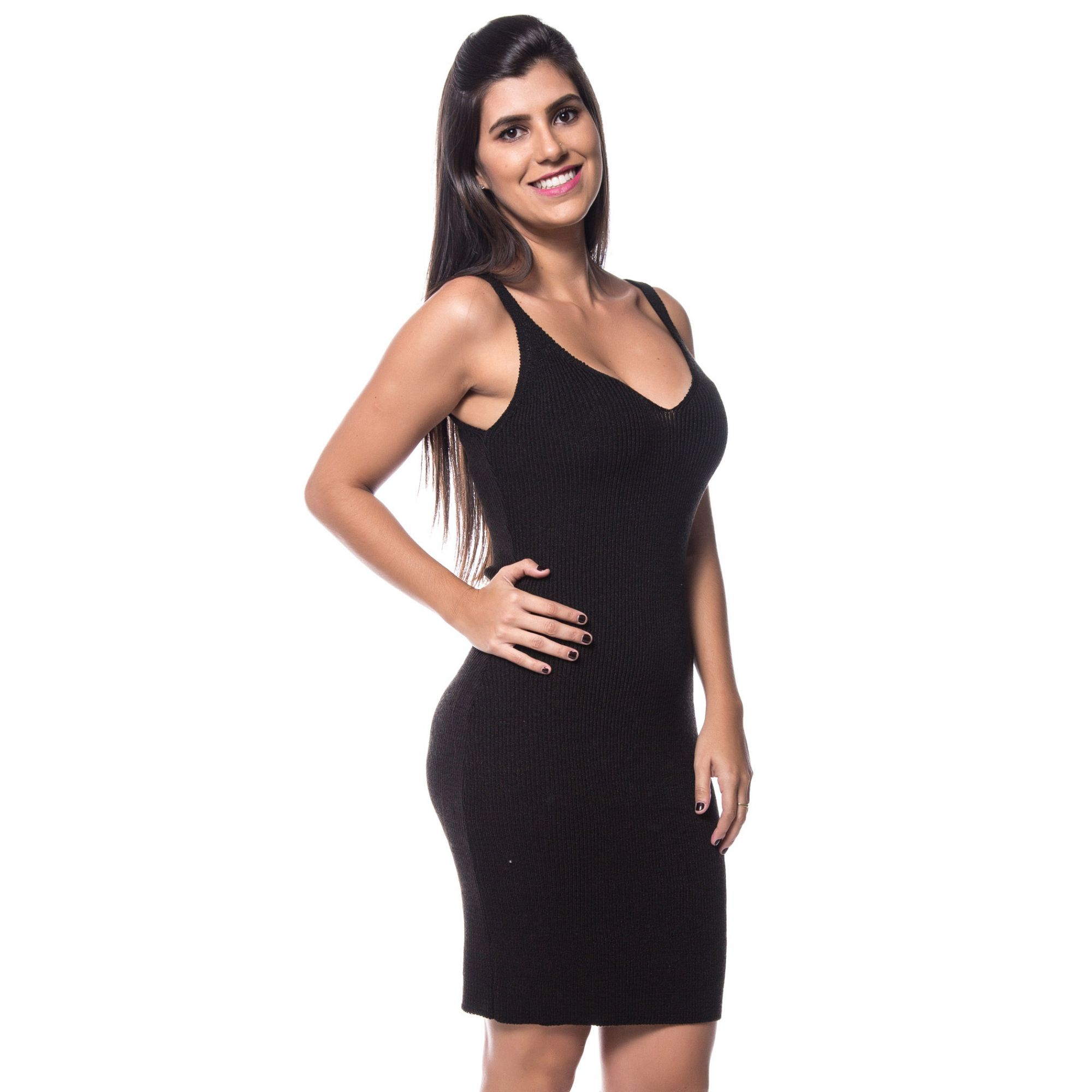 Vestido Vera Tricot Decote V Feminino Preto