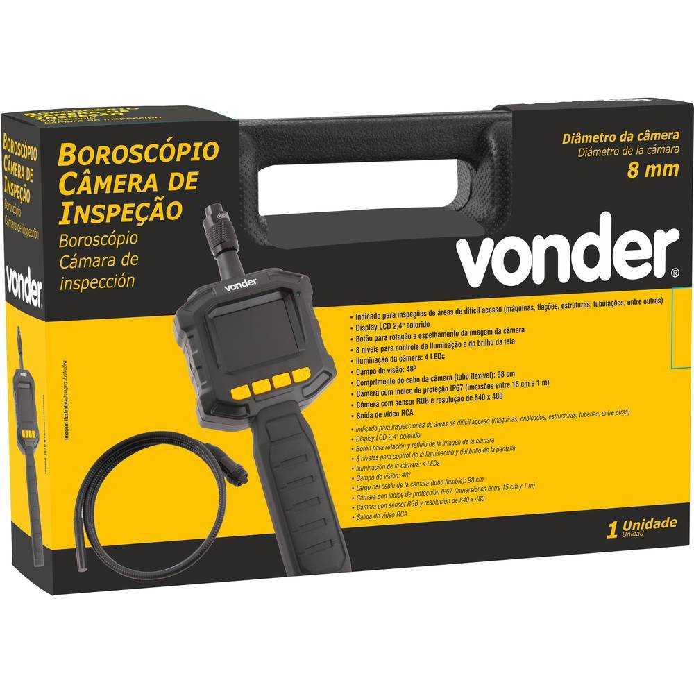 BOROSCÓPIO VONDER CÂMERA DE INSPEÇÃO 8MM DISPLAY LCD 2,4 POL