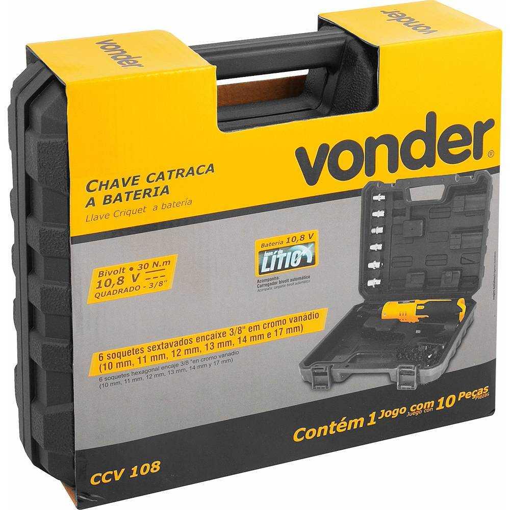 CHAVE CATRACA A BATERIA 3/8 POL 10,8V VONDER CCV108  BIVOLT