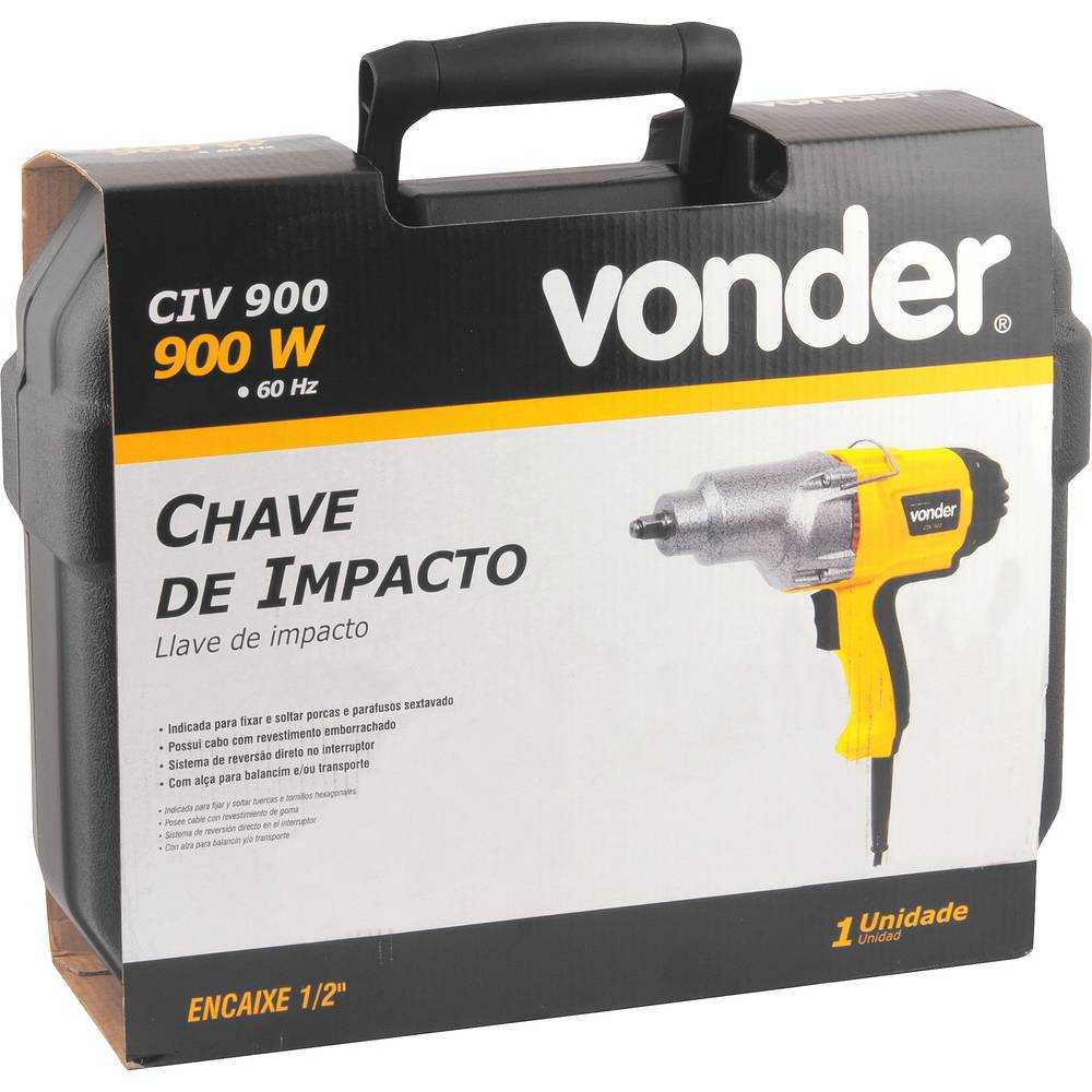 CHAVE DE IMPACTO COM ENCAIXE DE 1/2 POL VONDER CIV900
