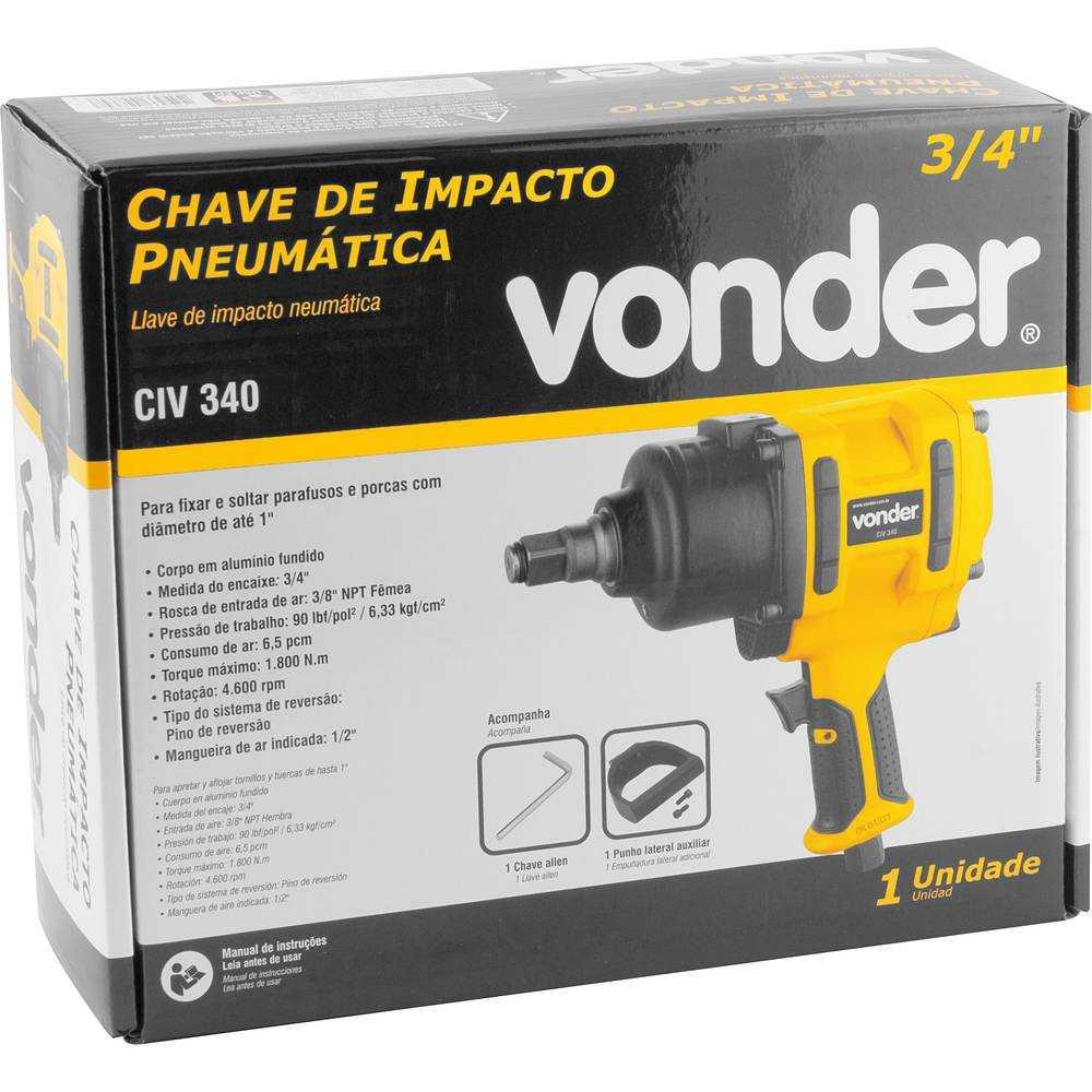 CHAVE DE IMPACTO PNEUMÁTICA 3/4 POL - 19,1MM VONDER CIV340
