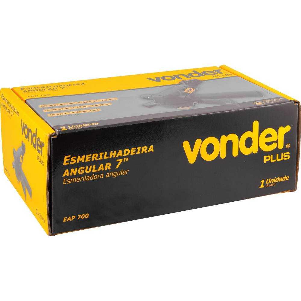 ESMERILHADEIRA ANGULAR PNEUMÁTICA VONDER EAP700 7 POL 180MM