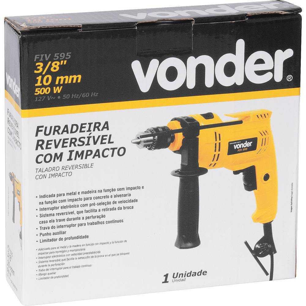 FURADEIRA COM IMPACTO 3/8 VONDER FIV595 500W