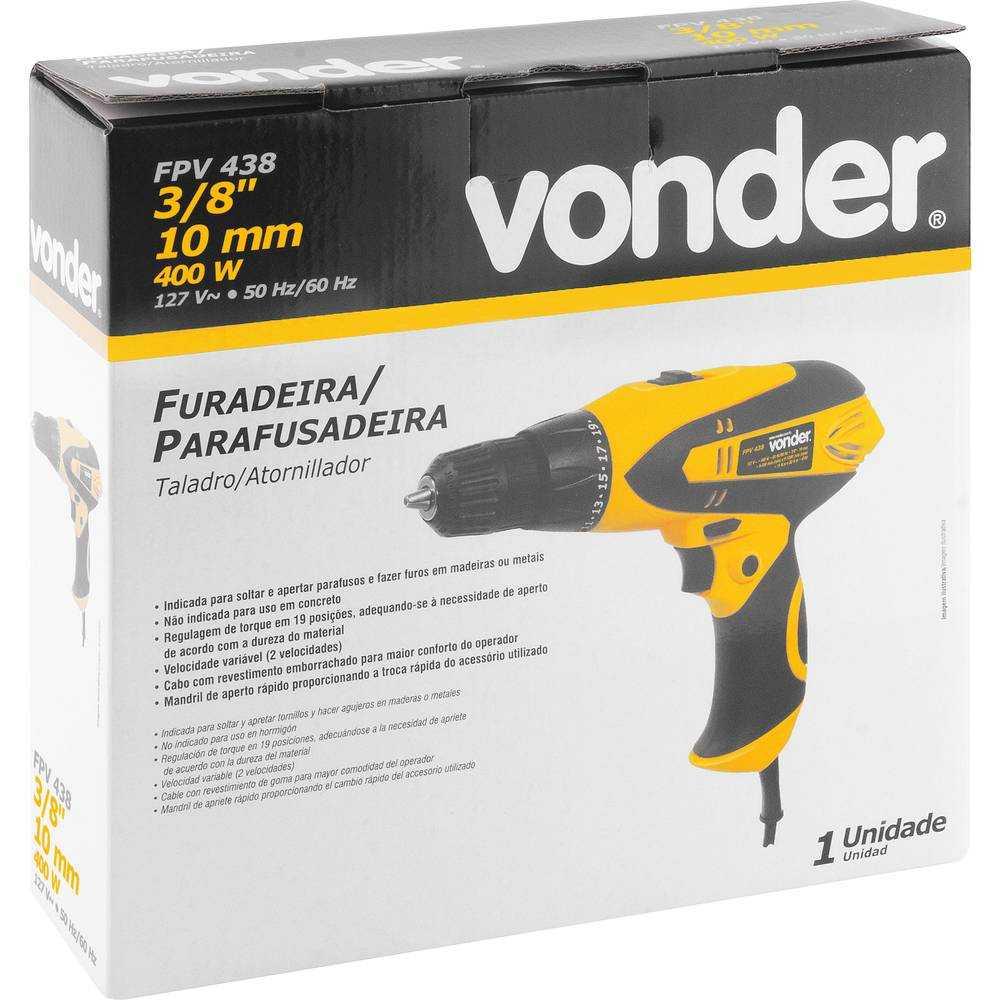 FURADEIRA PARAFUSADEIRA 3/8 VONDER FPV438 400W