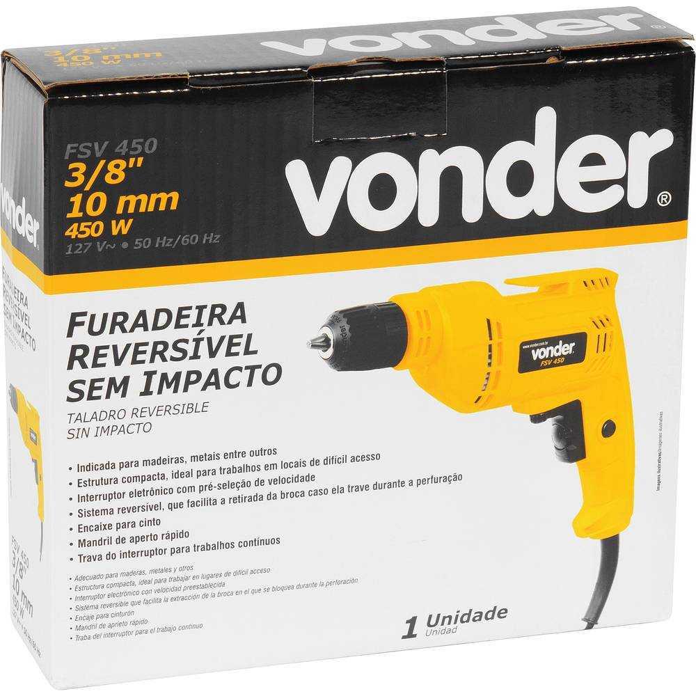 FURADEIRA SEM IMPACTO 3/8 VONDER FSV450 450W