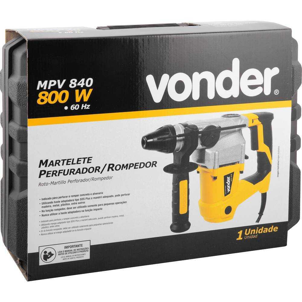MARTELETE PERFURADOR ROMPEDOR VONDER MPV840 800W SDS PLUS