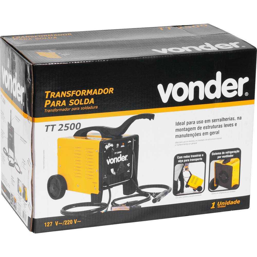 TRANSFORMADOR PARA SOLDA ELÉTRICA VONDER TT2500 BIVOLT