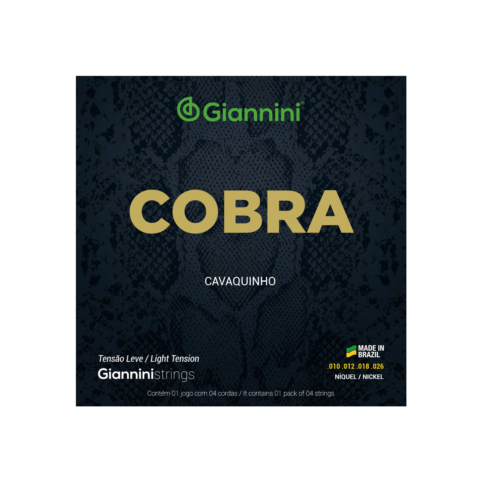 Encordoamento Giannini para Cavaquinho Cobra Níquel GESCL (.010 – .026) Leve