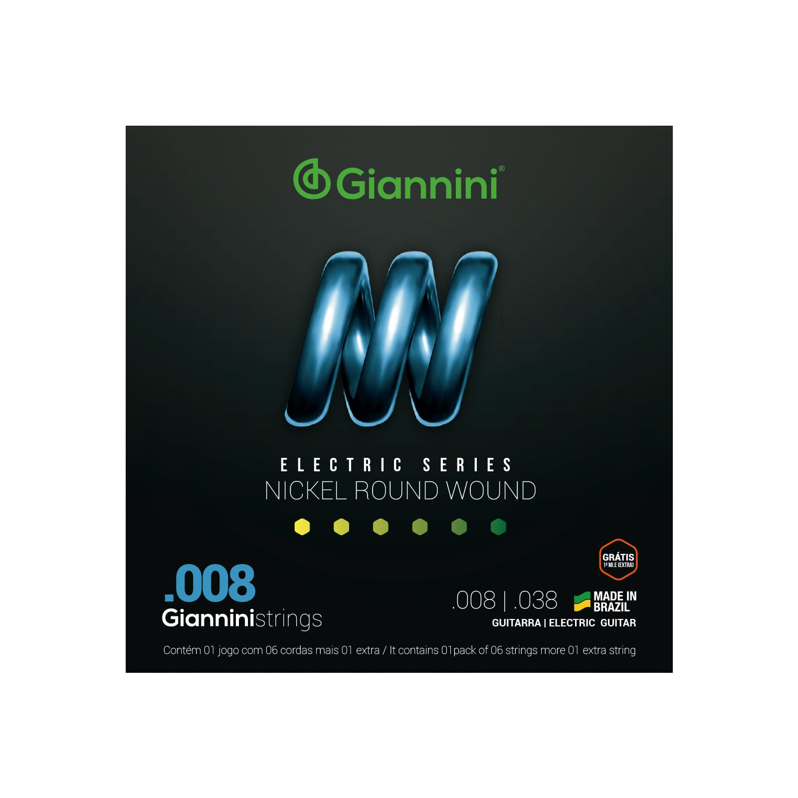 Encordoamento Giannini para Guitarra Nickel Round Wound GEEGST8 (.008 – .038)