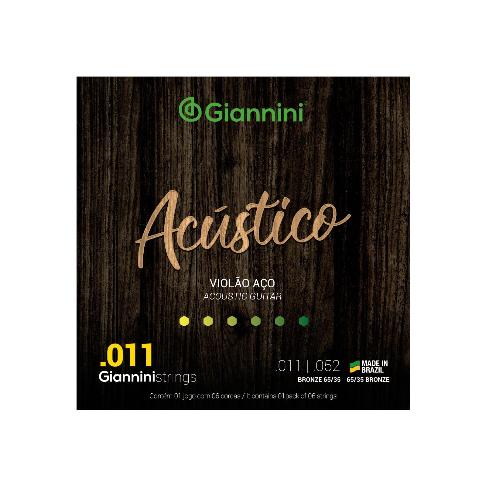 Encordoamento Giannini para Violão Aço 6 cordas Acústico Bronze 65/35 GESPW (.011 – .052)