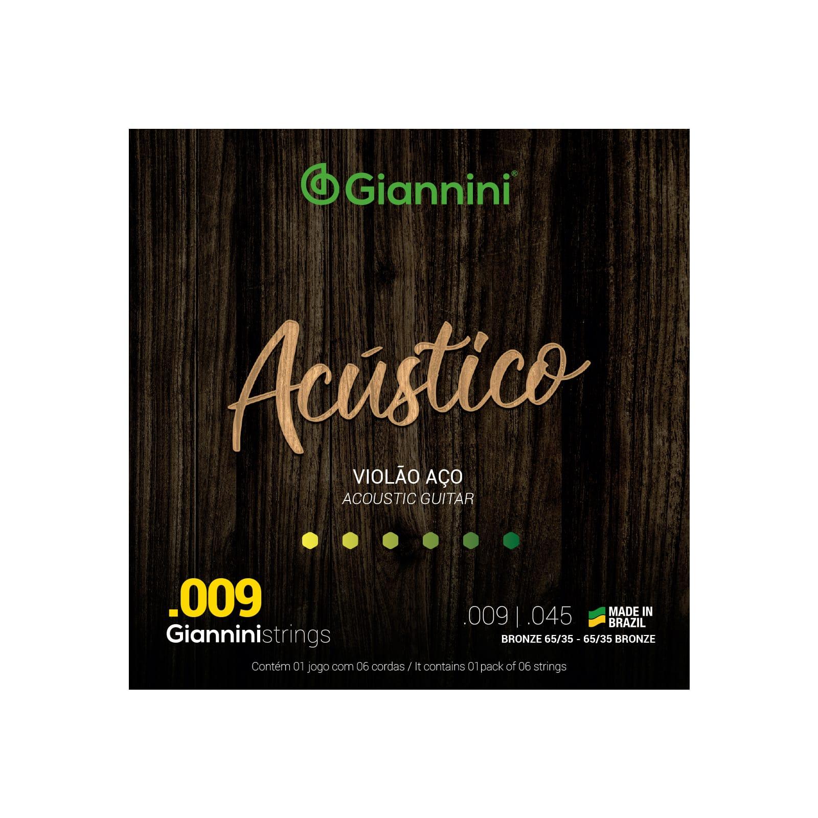 Encordoamento Giannini para Violão Aço 6 cordas Acústico Bronze 65/35 GESWAL (.009 – .045)