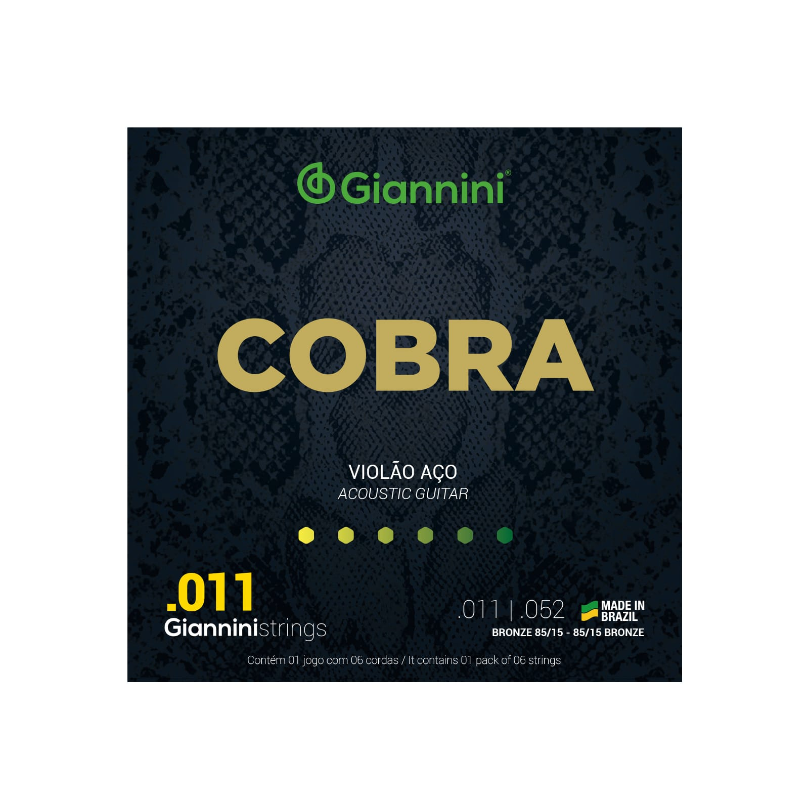 Encordoamento Giannini  para Violão Aço 6 cordas Cobra Bronze 85/15 GEEFLK (.011 – .052)