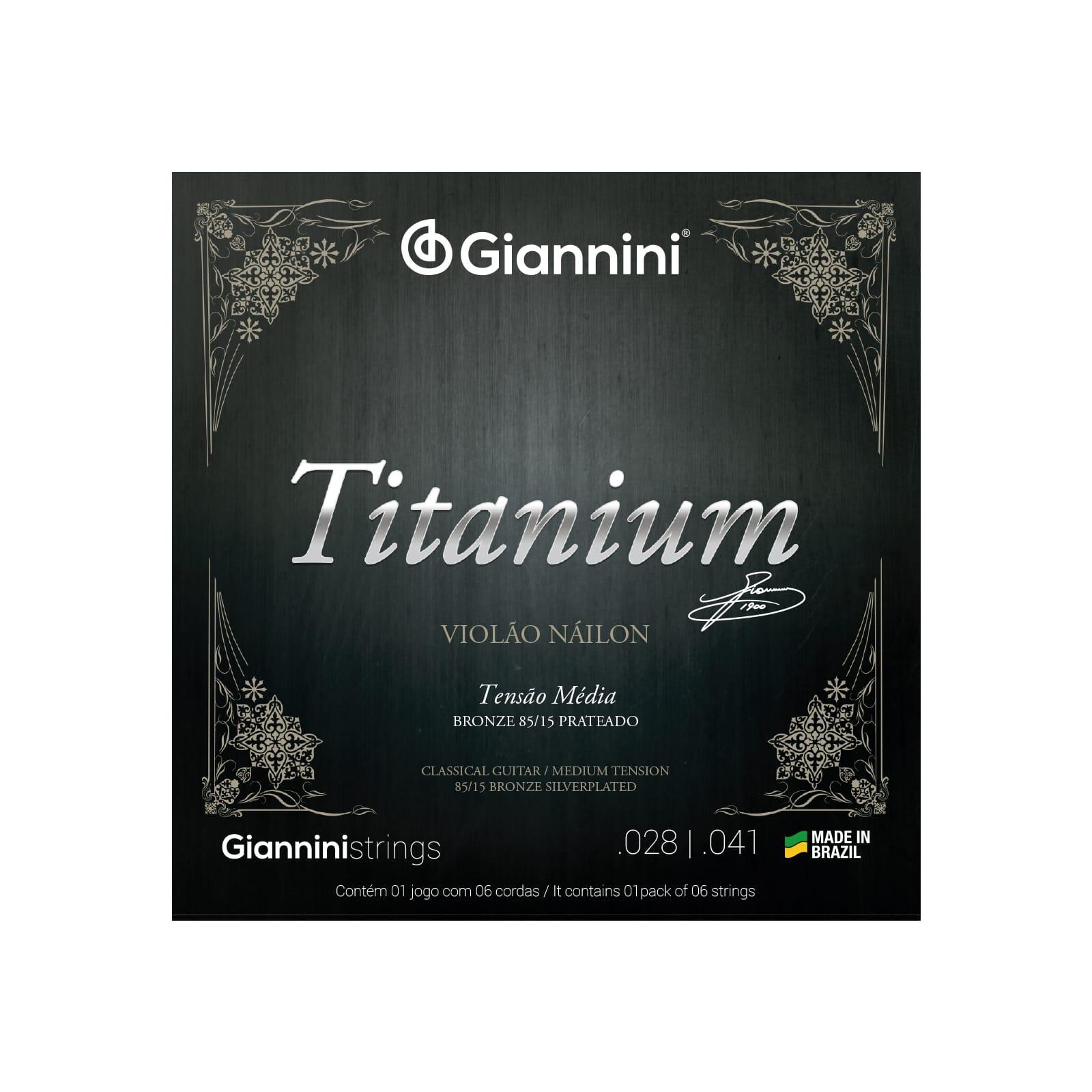 Encordoamento Giannini para Violão Náilon 6 cordas Titanium Bronze 85/15 GENWTM Média