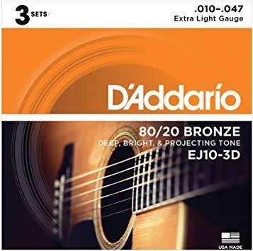 ENCORDOAMENTO VIOLÃO AÇO D'ADDARIO BRONZE 80/20 010 - EJ10 3D ( PACK COM 3 )