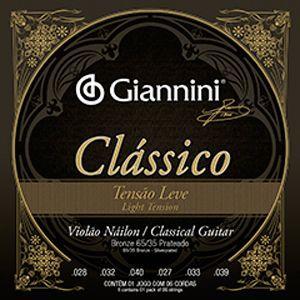 Encordoamento Violão Nylon Giannini Clássico Tensão Leve
