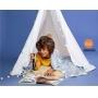Manta Infantil Lepper Kids Glow Azul, Dupla Face, Brilha no Escuro - 1.25m x 1,50m
