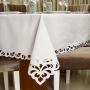Toalha de Mesa Retangular Casa Argivai Rechilie Bordado Branca 14 Lugares 1,80m x 4,10m