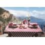 Toalha de Mesa Retangular Naturalle Limpeza Prática Amalfi Cereja 100% Algodão 6 a 8 Lugares 1,80m x 2,20m