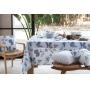 Toalha de Mesa Retangular Naturalle Limpeza Prática Tropical Azul 6 Lugares 1,60m x 2,20m