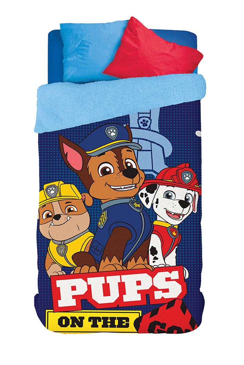 Coberdrom Infantil Lepper Patrulha Canina Fleece Dupla Face Solteiro Azul