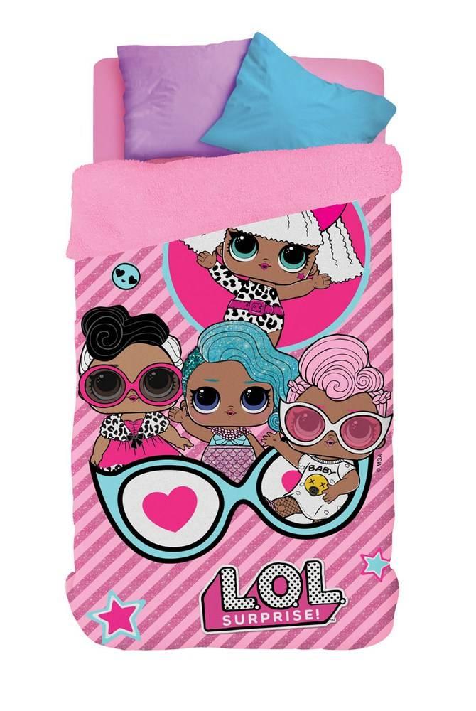 Coberdrom Infantil Lepper Personagens LOL Fleece Dupla Face Solteiro Rosa