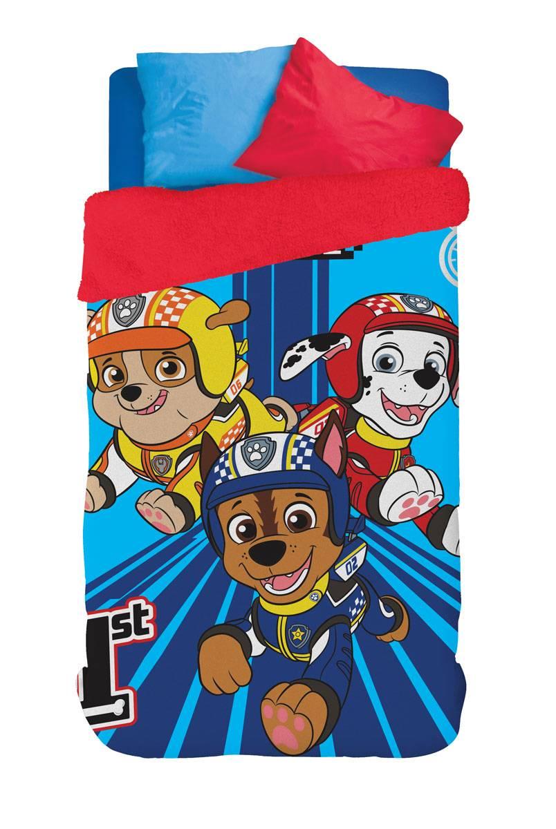Coberdrom Infantil Lepper Personagens Patrulha Canina Rubble, Chase e Marshall Fleece Dupla Face Solteiro